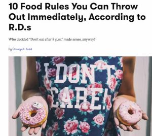 Image of woman holding donuts with a title of 10 Food Rules You Can Throw Out Immediately